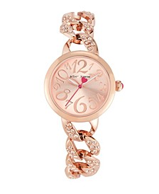 Women's Stone Chain Link Rose Gold-Tone Bracelet Watch 34mm