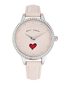 Women's Heart Pattern Dial Light Pink Polyurethane Strap Watch 39mm
