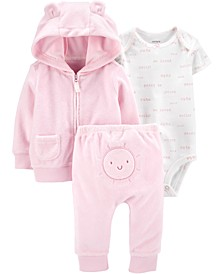 Baby Girls 3-Pc. Sunshine Printed Bodysuit, Bear Hoodie & Pants Set