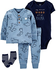 Baby Boys 4-Pc. Animal-Print Cotton Take-Me-Home Set