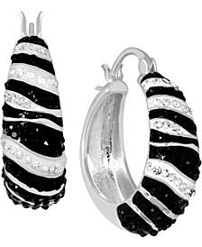 Multi-Crystal Zebra Print Hoop Earrings in Fine Silver-Plate