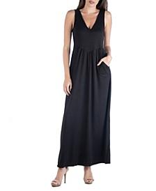Sleeveless V-Neck Maxi Dress with Pocket Detail