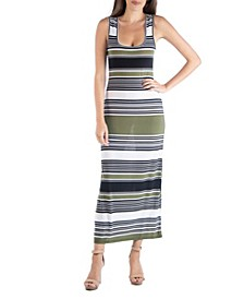 Striped Scoop Neck Maxi Dress with Racerback Detail