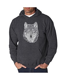 Men's Wolf Word Art Hooded Sweatshirt