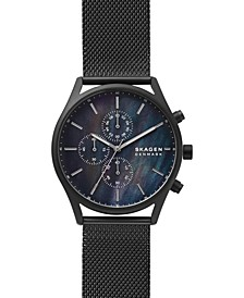 Men's Chronograph Holst Black-Tone Stainless Steel Mesh Bracelet Watch 42mm