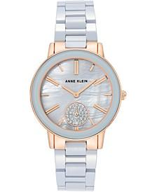 Women's Light Blue Ceramic Bracelet Watch 36mm