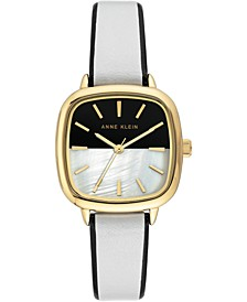 Women's Two-Tone Leather Strap Watch 30x36mm
