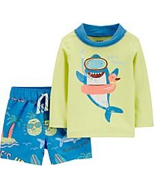 Baby Boys 2-Pc. Shark Rashguard & Trunks Swim Set