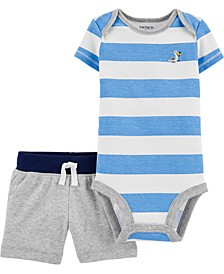 Baby Boys 2-Pc. Cotton Striped Bodysuit & Shorts Set