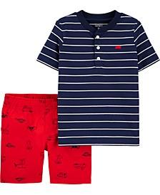 Baby Boys 2-Pc. Cotton Striped Henley & Printed Poplin Shorts Set