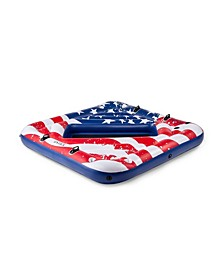 57264VM Inflatable American Flag 2 Person Party Island Lake Swimming Pool Float
