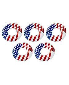 Inflatable Patriotic American Flag Swimming Pool Lake Tube Float, 5 Pack