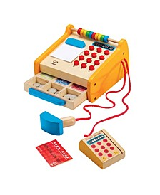 Toys Kids Wooden Checkout Store Cash Register Educational Pretend Playset