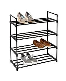 4-Shelf Black Modular Shoe Rack