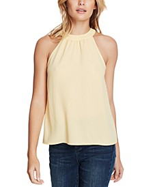 Gathered High-Neck Blouse