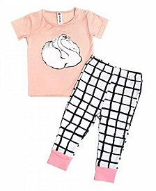 Baby Girls Bamboo Long Sleeve 2 Piece Swan Pajamas Set