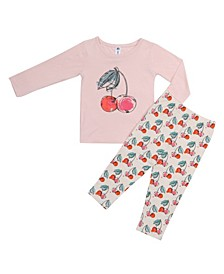 Baby Girls Bamboo Long Sleeve 2 Piece Cherry Pajamas Set