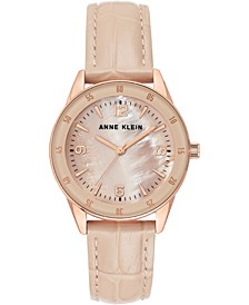 Women's Blush Leather Strap Watch 34mm