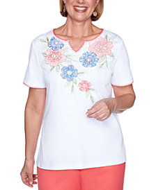 Alfred Dunner Petite Look On The Bright Side Floral-Embroidered Top