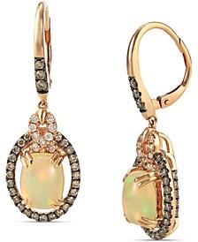 Neopolitan Opal (2 ct. t.w) & Diamond (7/8 ct. t.w.) Drop Earrings in 14k Rose Gold