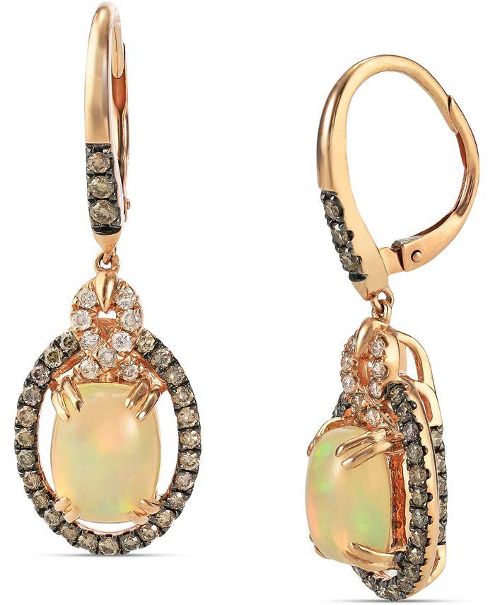 Le Vian - Neopolitan Opal (2 ct. t.w) & Diamond (7/8 ct. t.w.) Drop Earrings in 14k Rose Gold