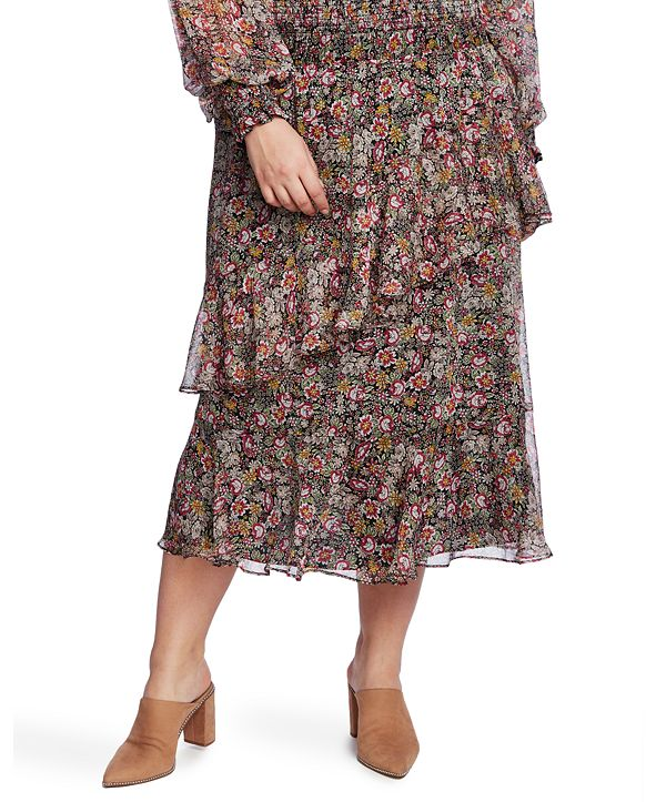 1.STATE Trendy Plus Size Tiered Skirt