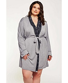 Women's Cotton Blend Contrast Lace Robe