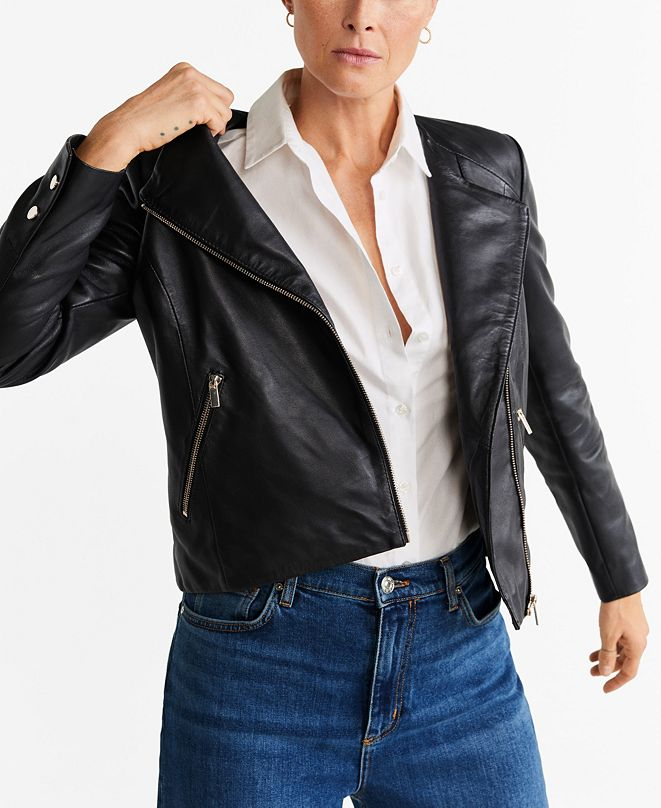 MANGO Women's Leather Biker Jacket