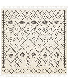 "Berber Shag BBE-2302 Charcoal 7'10"" x 7'10"" Square Area Rug"