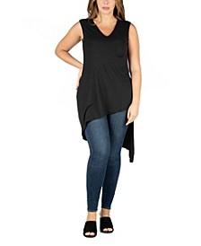 Women's Plus Size Sleeveless Asymmetric Tunic Top