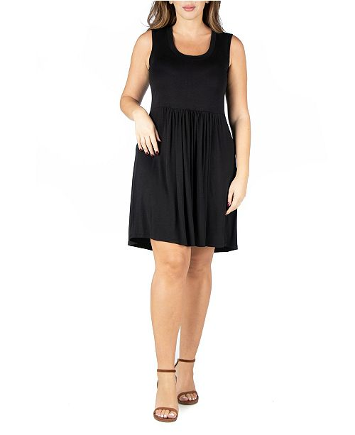 24seven Comfort Apparel Women's Plus Size Pleated Fit and Flare Dress