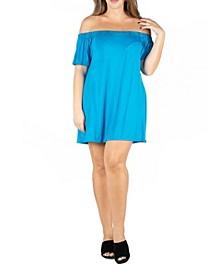 Women's Plus Size Loose Fit Off Shoulder Mini Dress