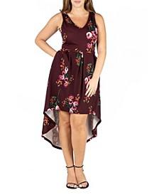 Women's Plus Size Floral High Low Dress