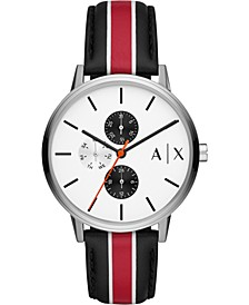 Men's Cayde Striped Leather Strap Watch 42mm