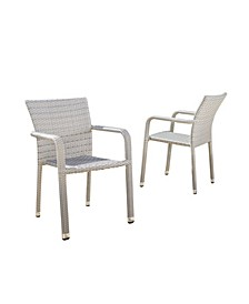 Dover Outdoor Armed Stacking Chairs with Frame, Set of 2