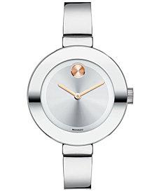Movado Women's Swiss Bold Stainless Steel Bangle Bracelet Watch 34mm 3600194