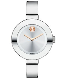 Movado Women's Swiss Bold Stainless Steel Bangle Bracelet Watch 34mm 3600194