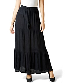 Juniors' Tiered Crinkle Maxi Skirt