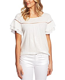 Circle-Trim Tiered-Sleeve Top