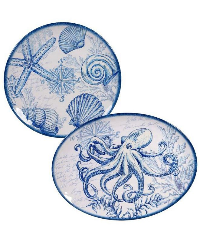 Certified International Oceanic Melamine 2-Pc. Platter Set