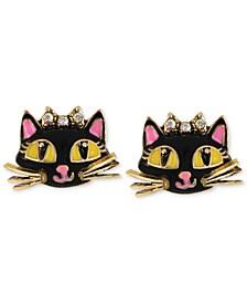 Antique Gold-Tone Cat Stud Earrings