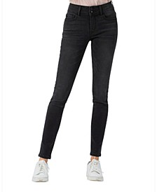 Mid Rise Double Button Skinny Jeans
