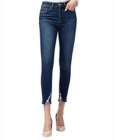 High Rise Distressed Hem Skinny Crop Jeans