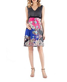 Sleeveless Empire Waist Patchwork Print Maternity Cocktail Dress