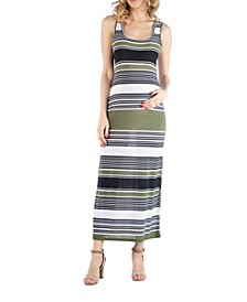 Striped Maternity Maxi Dress with Racerback Detail