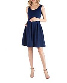 Sleeveless Pleated Maternity Dress with Pockets