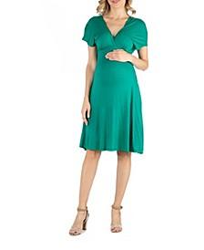 V Neck Cap Sleeve Empire Waist Maternity Dress