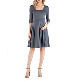 Fit and Flare Scoop Neck Maternity Dress