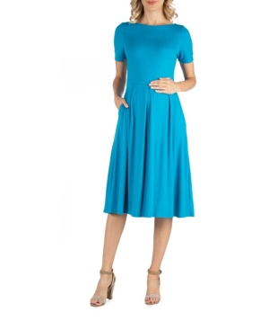 24seven Comfort Apparel Maternity Midi Dress with Short Sleeve and Pocket Detail