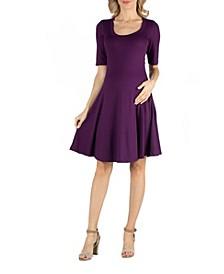 Knee Length A Line Elbow Sleeve Maternity Dress